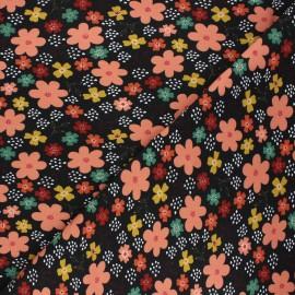 Tissu jersey Poppy Flowers and hearts - noir x 10cm
