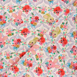 Fiona Hewitt jersey fabric - nude pink Happy bunnies x 10cm