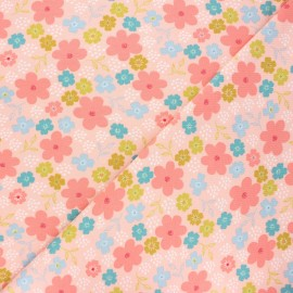 Poppy jersey fabric - light pink Flowers and hearts x 10cm