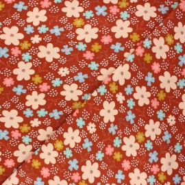 Poppy jersey fabric - rust Flowers and hearts x 10cm