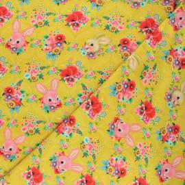 Fiona Hewitt jersey fabric - curry yellow Happy bunnies x 10cm