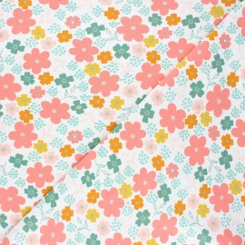 Poppy jersey fabric - white Flowers and hearts x 10cm