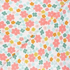 Tissu jersey Poppy Flowers and hearts - blanc x 10cm