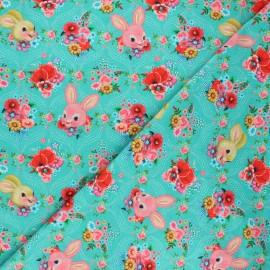 Fiona Hewitt jersey fabric - lagoon blue Happy bunnies x 10cm