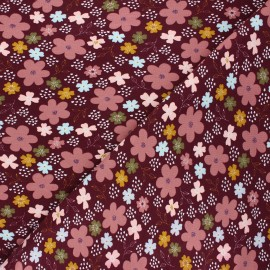 Poppy jersey fabric - wine Flowers and hearts x 10cm