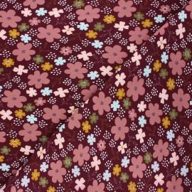 Tissu jersey Poppy Flowers and hearts - lie de vin x 10cm