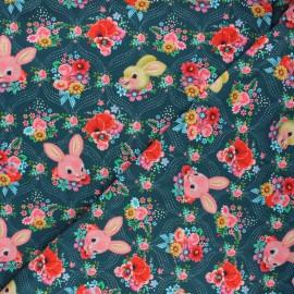 Fiona Hewitt jersey fabric - peacock blue Happy bunnies x 10cm