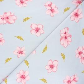 Tissu jersey modal fluide Poppy Cherry blossom - gris clair x 10cm