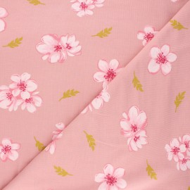 Tissu jersey modal fluide Poppy Cherry blossom - rose thé x 10cm