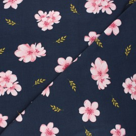 Poppy modal jersey fabric - night blue Cherry blossom x 10cm