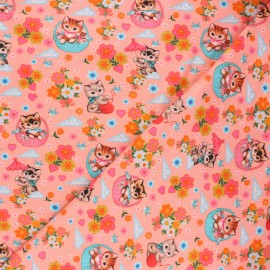 Fiona Hewitt jersey fabric - coral pink Kittens in baskets x 10cm