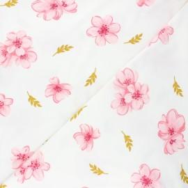 Poppy modal jersey fabric - off-white Cherry blossom x 10cm