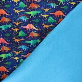 Softshell fabric - night blue Dino club x 10cm