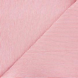 Tissu seersucker chambray rayé - rouge x 10cm