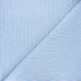 Striped chambray seersucker fabric - swell blue x 10cm