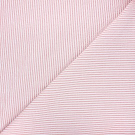 Striped chambray seersucker fabric - light pink x 10cm