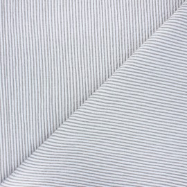 Striped chambray seersucker fabric - grey x 10cm