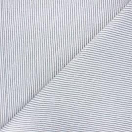 Tissu seersucker chambray rayé - gris x 10cm