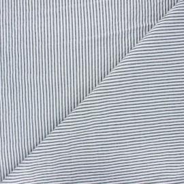 Tissu seersucker chambray rayé - noir x 10cm