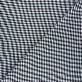 Gingham chambray seersucker fabric - black x 10cm