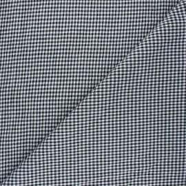 Tissu seersucker chambray vichy - noir x 10cm