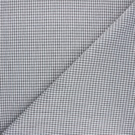 Gingham chambray seersucker fabric - grey x 10cm