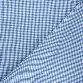 Tissu seersucker chambray vichy - bleu houle x 10cm