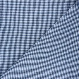 Tissu seersucker chambray vichy - bleu marine x 10cm