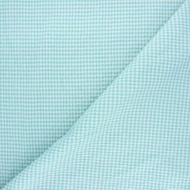 Gingham chambray seersucker fabric - celadon green x 10cm
