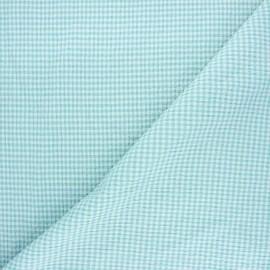Tissu seersucker chambray vichy - vert céladon x 10cm