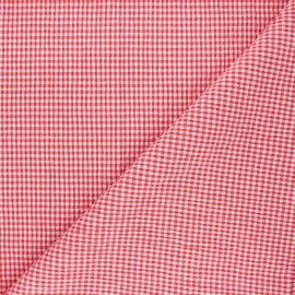 Gingham chambray seersucker fabric - red x 10cm