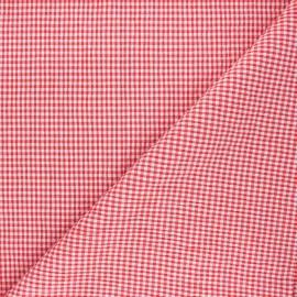 Tissu seersucker chambray vichy - rouge x 10cm