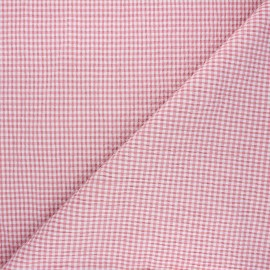 Tissu seersucker chambray vichy - rose x 10cm