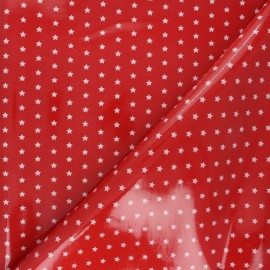Fryett's Coated cotton fabric - red star x 10cm