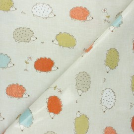 Tissu coton enduit Fryett's Hérisson - beige x 10cm