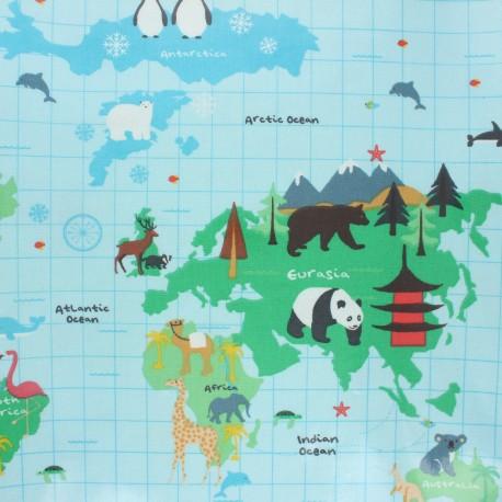 Fryett's Coated cotton fabric - blue World map x 10cm