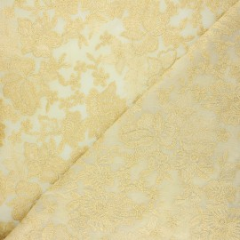 Embroidered polyester fabric - gold Lyna x 10cm