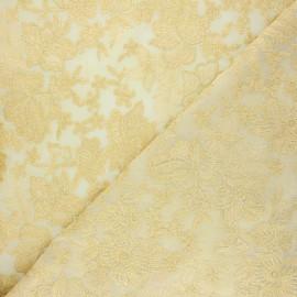 Tissu polyester brodé Lyna - or x 10cm