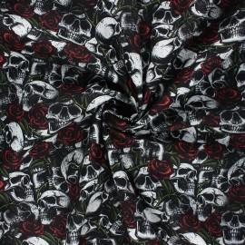 Tissu coton popeline Poppy Skulls with roses - blanc x 10cm