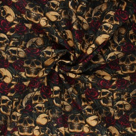 Poppy poplin cotton fabric - sand Skulls with roses x 10cm