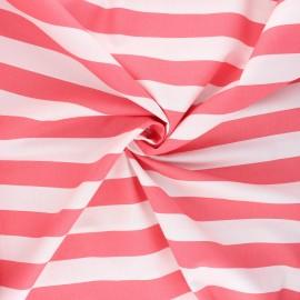 Poppy poplin cotton fabric - coral Stripe x 10cm
