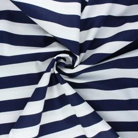 Poppy poplin cotton fabric - night blue Stripe x 10cm