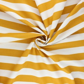 Poppy poplin cotton fabric - mustard yellow Stripe x 10cm
