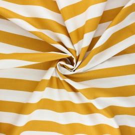 Tissu coton popeline Poppy Stripe - jaune moutarde x 10cm