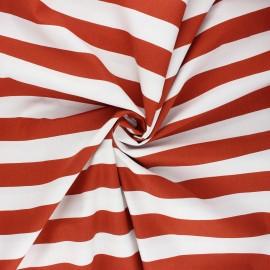 Poppy poplin cotton fabric - rust Stripe x 10cm