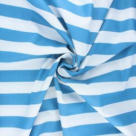 Poppy poplin cotton fabric - swell blue Stripe x 10cm