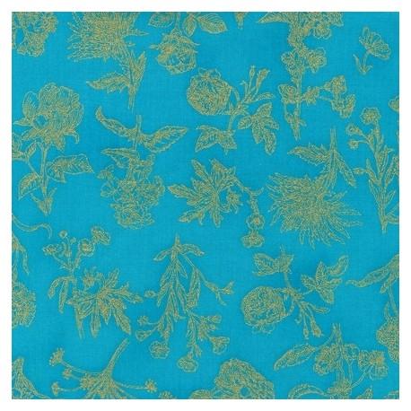 Fabric Field Notes Metallic Turquoise x 10cm