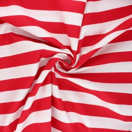 Tissu coton popeline Poppy Stripe - rouge x 10cm