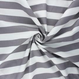 Poppy poplin cotton fabric - mouse grey Stripe x 10cm