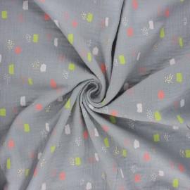 Poppy double gauze fabric - grey Funny shapes x 10cm